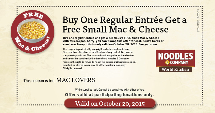 Noodles & Company: Free Mac & Cheese with Entree Purchase