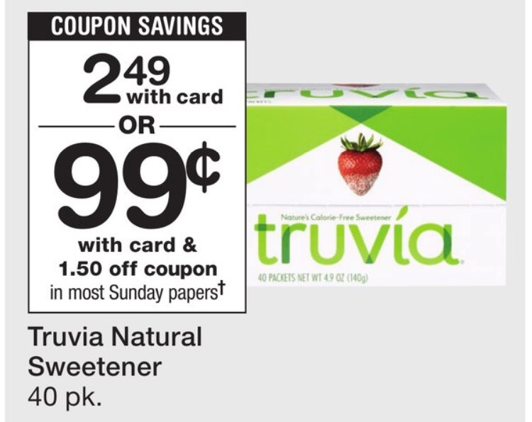 image relating to Truvia Coupon Printable identify $0.99 Truvia Sweetener at Walgreens - Very last Working day! Becs Savings