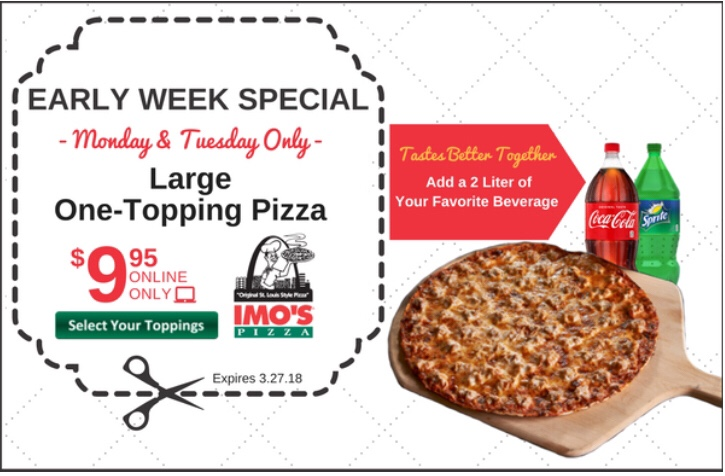 graphic relating to Imos Coupons Printable identify IMOS Pizza: Early 7 days Exclusive! Becs Discount rates