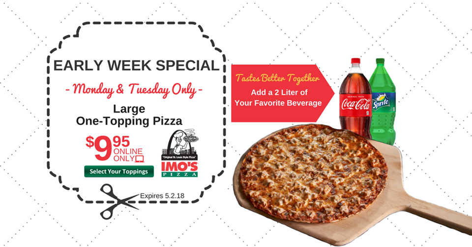 picture relating to Imos Coupons Printable named IMOS Pizza: $9.95 Superior Just one-Topping Pizza - On line Simply just
