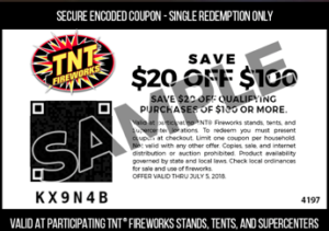 photograph about Tnt Fireworks Coupons Printable titled TNT Fireworks: $20 off $100 Qualifying Invest in! Becs